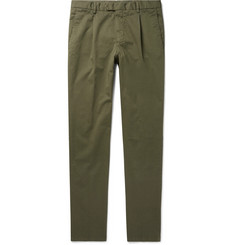 Beams F Slim-Fit Tapered Pleated Stretch-Cotton Twill Trousers
