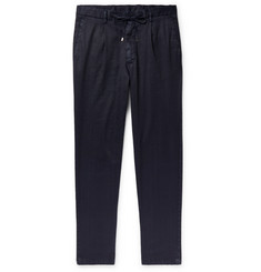 Beams F Slim-Fit Tapered Pleated Linen-Blend Twill Drawstring Trousers