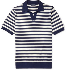 Beams F Slim-Fit Striped Knitted Cotton Polo Shirt