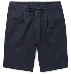 Beams F Slim-Fit Pleated Herringbone Cotton and Linen-Blend Drawstring Shorts