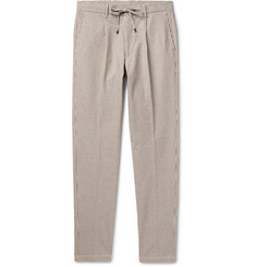 Beams F Tapered Pleated Striped Cotton-Blend Seersucker Drawstring Trousers
