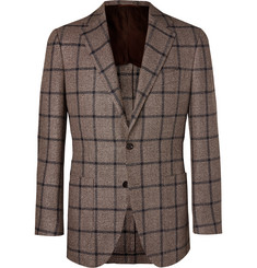 Beams F Brown Slim-Fit Checked Silk, Linen and Cotton-Blend Blazer