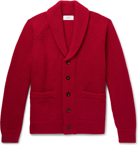 Mr P.Oversized Shawl-Collar Ribbed Wool and Cashmere-Blend Cardigan 2b95f5e87