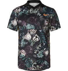Nike Tennis NikeCourt Slam Striped Floral-Print Dri-FIT Tennis Polo Shirt