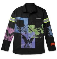 Heron Preston Oversized Reflective-Trimmed Printed Twill Shirt