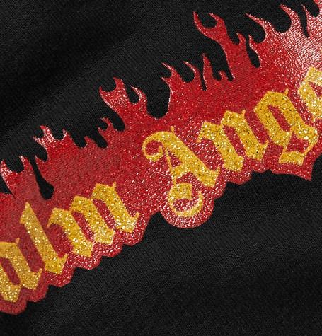 Glittered Logo Print Cotton Jersey T Shirt by Palm Angels