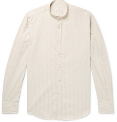 Incotex Grandad-Collar Striped Cotton and Linen-Blend Shirt