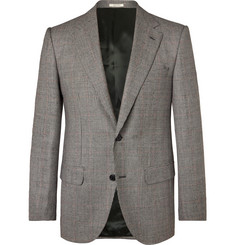 Husbands Grey Slim-Fit Prince of Wales Checked Wool Blazer