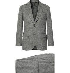 Grey Slim-fit Herringbone Wool Three-piece Suit - Gray