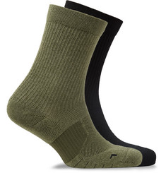 Nike Running Two-Pack Multiplier Logo-Intarsia Dri-FIT Socks