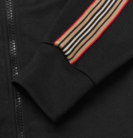 Burberry Icon Stripe Detail Funnel Neck Track Top In Black