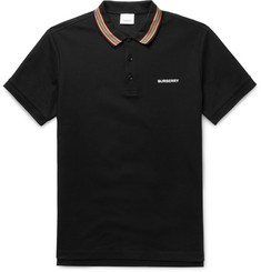 Burberry Contrast-Tipped Cotton-Piqué Polo Shirt