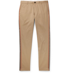 Burberry Slim-Fit Grosgrain-Trimmed Cotton-Twill Chinos