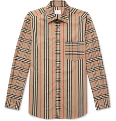 Burberry Checked Striped Cotton-Poplin Shirt
