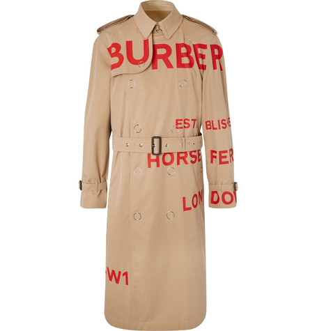 Printed Cotton Gabardine Trench Coat by Burberry