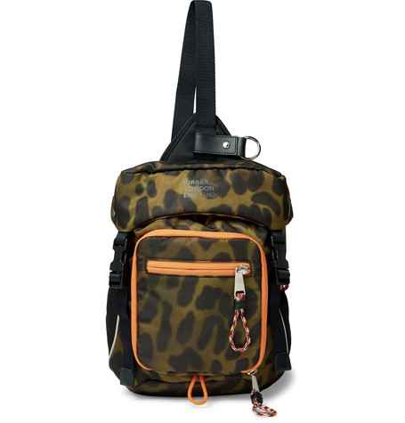 BURBERRY | Burberry - Animal-print Nylon Cross-body Backpack - Light green | Goxip