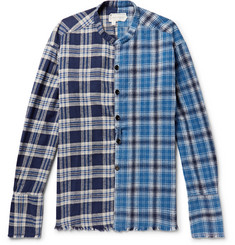 Greg Lauren - Grandad-Collar Panelled Checked Cotton-Flannel Shirt
