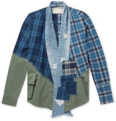 Panelled Cotton Canvas, Denim And Checked Flannel Jacket by Greg Lauren