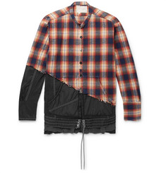 6c786a6ae4 Greg Lauren + Birdwell Grandad-Collar Panelled Distressed Checked  Cotton-Flannel and Nylon Shirt