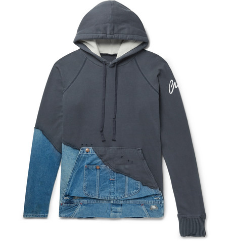 Greg Lauren Panelled Distressed Loopback Cotton-Jersey And Denim Hoodie In Blue