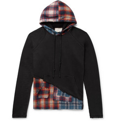 ea22097569 Greg Lauren Panelled Distressed Loopback Cotton-Jersey and Checked  Cotton-Flannel Hoodie