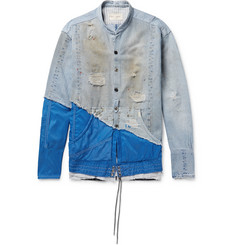 Greg Lauren - + Birdwell Grandad-Collar Panelled Distressed Denim and Nylon Shirt