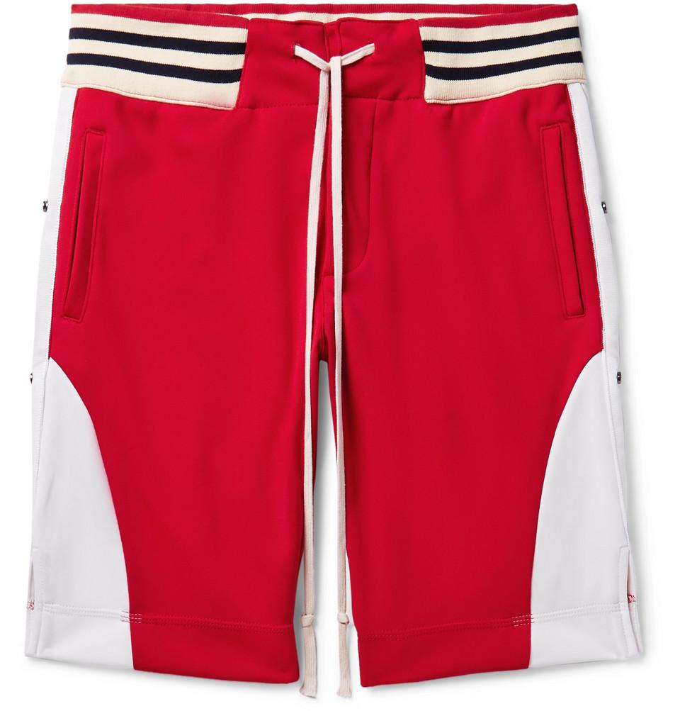 Grosgrain-trimmed Tech-jersey Drawstring Shorts - Red