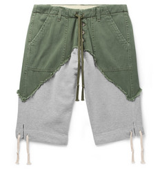 9b50a3c8e8 Greg Lauren Slim-Fit Cotton-Twill Panelled Loopback Mélange Jersey  Drawstring Shorts