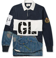 Greg Lauren - Panelled Distressed Cotton-Jersey and Denim Rugby Shirt