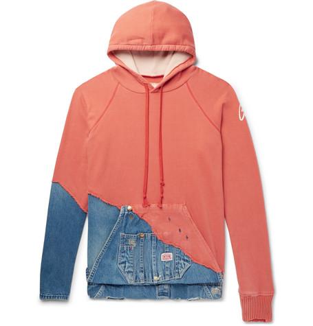 Greg Lauren Paneled Distressed Loopback Cotton-Jersey And Denim Hoodie In Orange