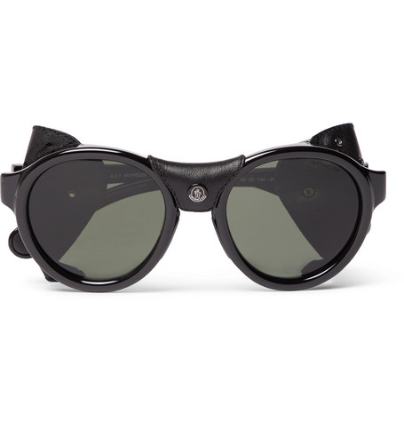 Moncler – Round-frame Leather-trimmed Acetate Polarised Sunglasses – Black