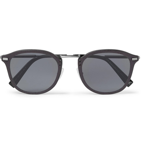 Ermenegildo Zegna – D-frame Leather-trimmed Acetate And Gunmetal-tone Sunglasses – Gray