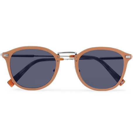Ermenegildo Zegna – D-frame Leather And Silver-tone Sunglasses – Tan