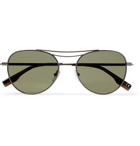 ERMENEGILDO ZEGNA | Ermenegildo Zegna - Aviator-style Gunmetal-tone Sunglasses - Gunmetal | Goxip