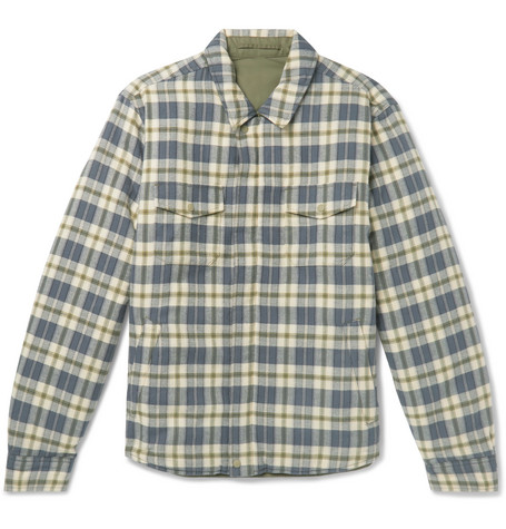 OUTERKNOWN Evolution Reversible Organic Cotton-Flannel And Quilted Shell Jacket in Green