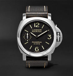Panerai - Luminor Marina 8 Days Acciaio 44mm Stainless Steel and Leather Watch