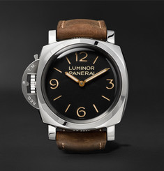 Officine Panerai Luminor 1950 Left-Handed 3 Days Acciaio 47mm Stainless Steel and Leather Watch