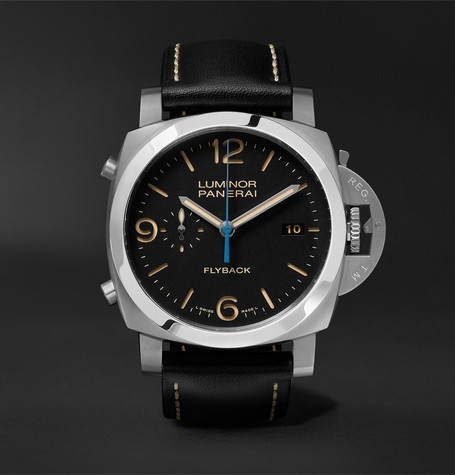 Panerai Luminor 1950 3 Days Chrono Flyback Automatic Acciaio 44mm Stainless Steel and Leather Watch, Ref. No