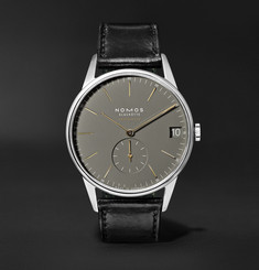 NOMOS Glashütte Orion Neomatik Datum Automatic 40.5mm Stainless Steel and Horween Cordovan Leather Watch, Ref. No. 3