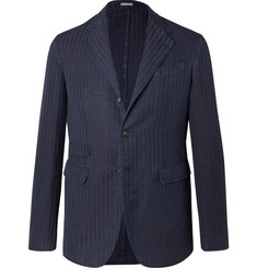 Massimo Alba Navy Unstructured Striped Herringbone Linen and Cotton-Blend Blazer