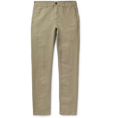 Linen And Cotton Blend Trousers by Massimo Alba