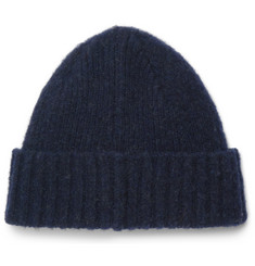 Mr P.-Ribbed Brushed-Wool Beanie