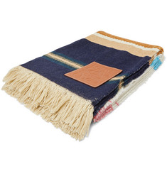 Loewe + Paula's Ibiza Logo-Appliquéd Striped Wool and Cotton-Blend Blanket