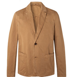 Mr P. Tobacco Unstructured Garment-Dyed Cotton-Twill Blazer