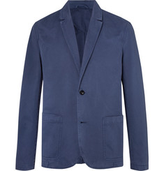 Mr P. Blue Unstructured Garment-Dyed Peached Cotton-Twill Suit Jacket