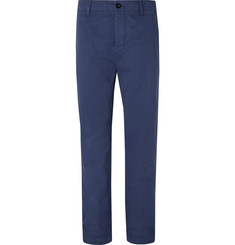 Mr P. Blue Wide-Leg Garment-Dyed Peached Cotton-Twill Suit Trousers