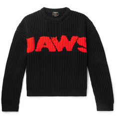 CALVIN KLEIN 205W39NYC Jaws Distressed Intarsia-Knit Sweater