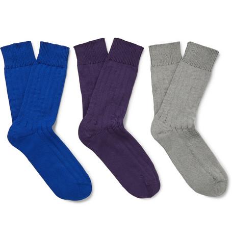a7d3545dea Schiesser - Kuno Three-Pack Ribbed Cotton Socks