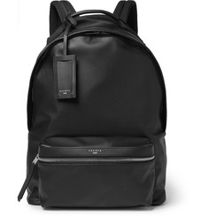 Faux Textured-leather Backpack - Black
