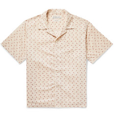 Remi Relief Camp-Collar Paisley-Trimmed Cotton Shirt